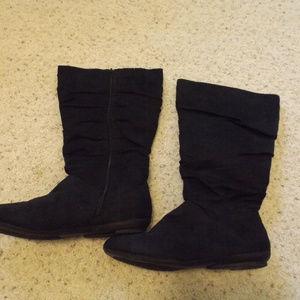 Black below the knee boots
